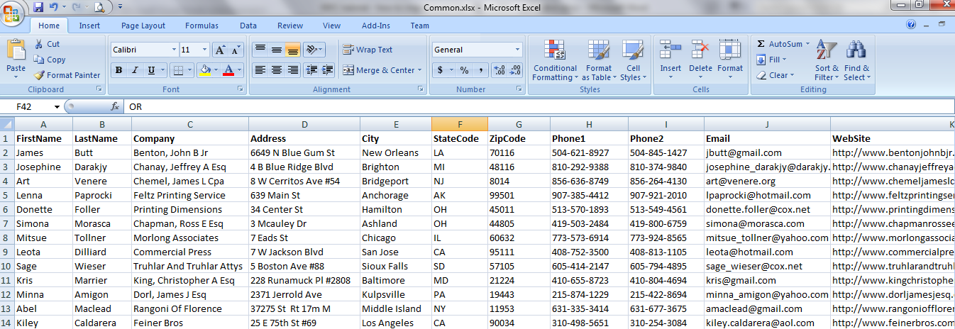 Snapshot of Excel Table