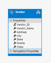 Entity data model for Vendor Table